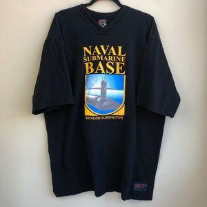 VTG Naval Submarine Base T Shirt XL Black US Navy
